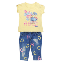 Short Sleeves Yellow T-shirt Jegging Pants Water Printing Baby Girl Clothes Sets