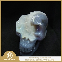 high quality Amethyst crystal skull sculpture/amethyst carved skulls with geode good for home decoration