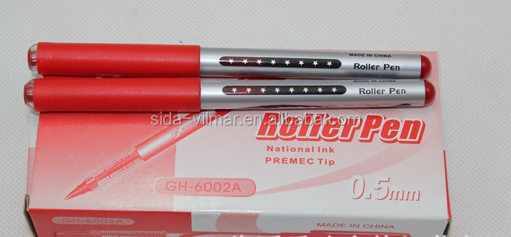red plastic gel ink pen