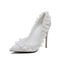 2017 new design pearl heels wedding shoes for bride women shoes heels