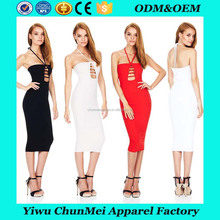 2017 New Women Sexy V-neck Bandage Dress Cocktail Party Mini Sleeveless Hollow Out Dresses