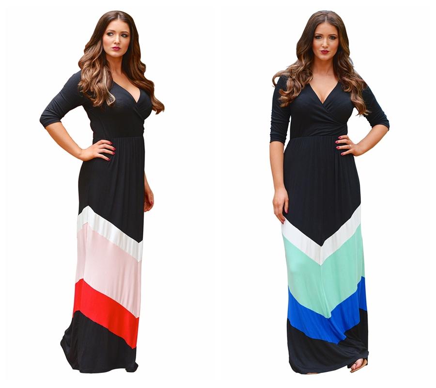 Buy New Summer Dresses Striped Print Chiffon Long Dress V-Neck Beach ...