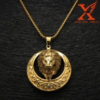 2016 New Design High Polish Stainless Steel Animal Head Gold Coin Pendant