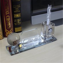 2016 NEW DESIGN crystal glass pen holder card holder for office decor /home decor best products