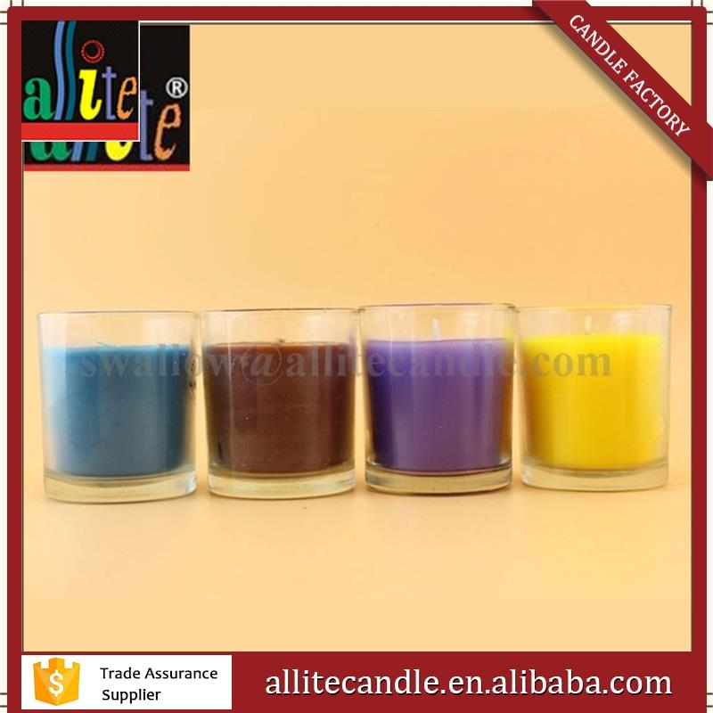 decoration Scented color Soy Wax Wooden wick glass jar candle