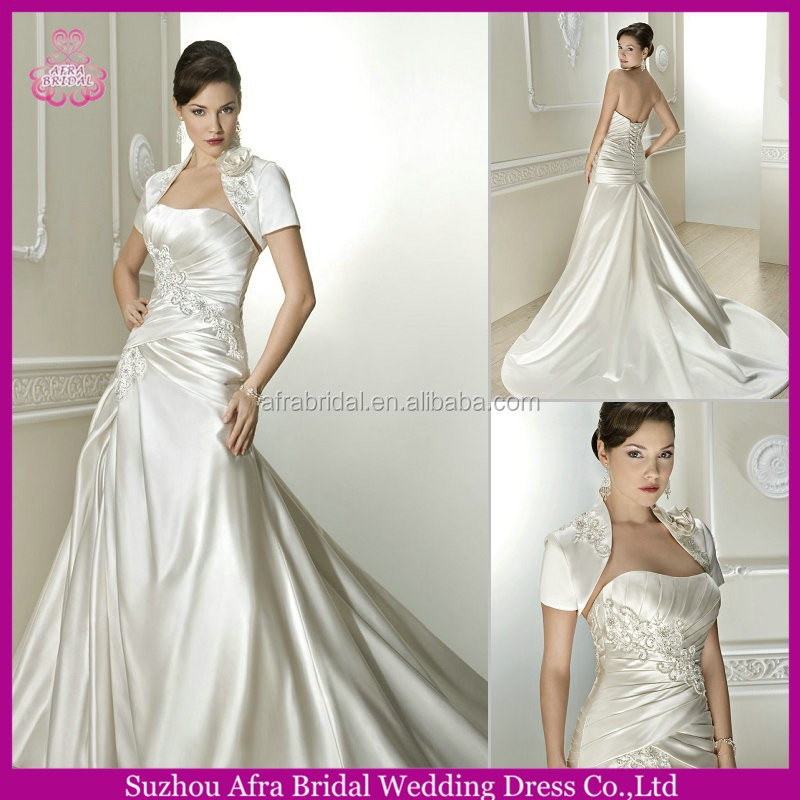 QQ1710 elegant satin silver sexy mermaid cheap wedding dresses with sleeves