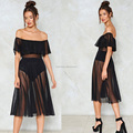 Wholesale Oem custom fashion women black mesh off shoulder maxi dress