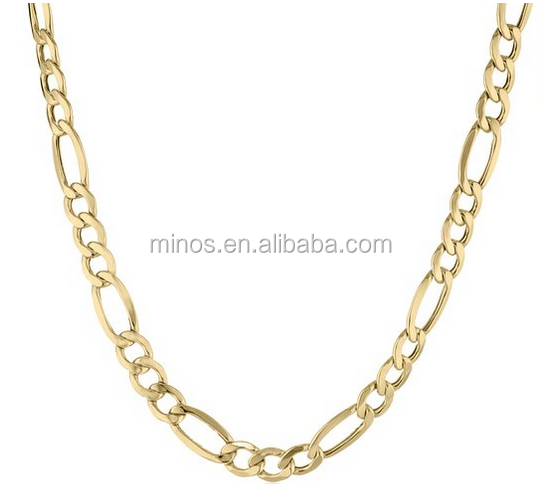 Men's 10k Yellow Gold 7mm Figaro Chain Necklace New Design Fashion Long Necklace for Men