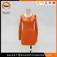 YEEL factory direct clothing old fashioned soft cashmere jumper orange ladies one piece dress