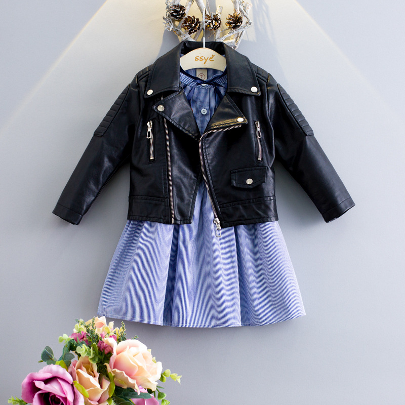 Wholesale Custom Made Children Long Sleeve Biker Leather Jackets