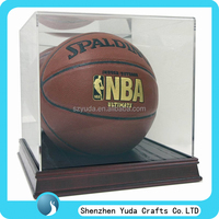 special plexiglass case for ball display, basketball acrylic display container with wodden base