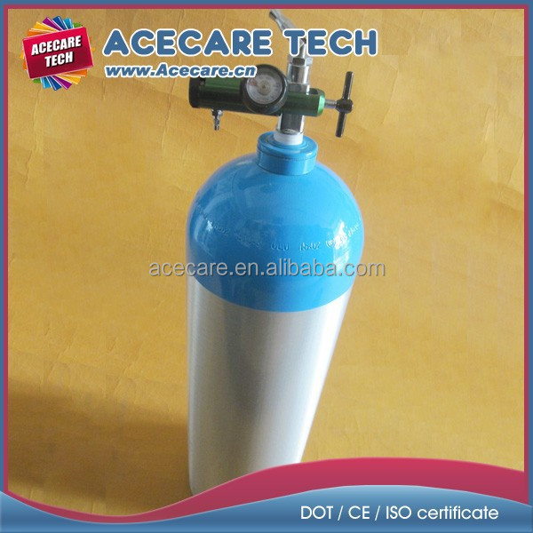 15L Medical oxygen aluminum gas cylinder, CGA870 valve & regulator, DOT 3AL/CE certificate
