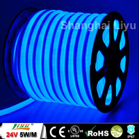 DC24V, 5W/M, 10*22mm Epistar chip flex led neon rope light blue color, #LY-CL-24V-MB