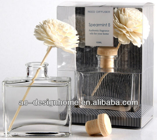 GREY COLOR SPEARMINT B FRAGRANCE 100ML AROMA HOME REED DIFFUSER GIFT SET W/GLASS BOTTLE & 1 PC NATURAL FLOWER DECORATION