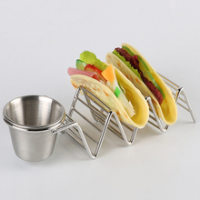 Factory wholesale 304 Stainless Steel Taco Holder Stand with cup