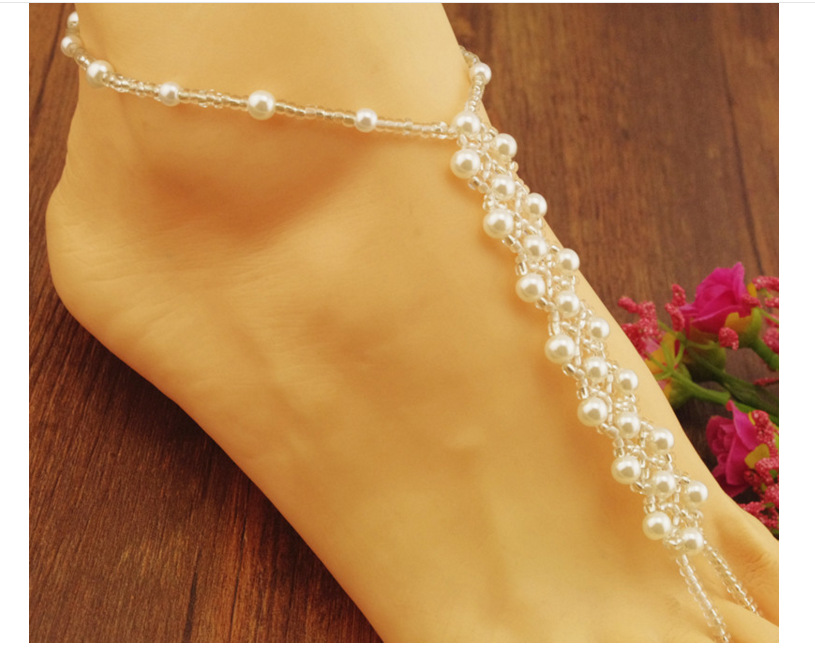 Wholesale turkish jewelry pearl fashion anklet wedding barefoot sandals