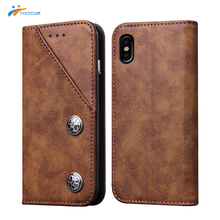XDDZ Case for Apple iPhone 8 for iPhone8 Cover Magnetic Retro PU Leather Case TPU Back Cover Card Kickstand Mobile Phone Case