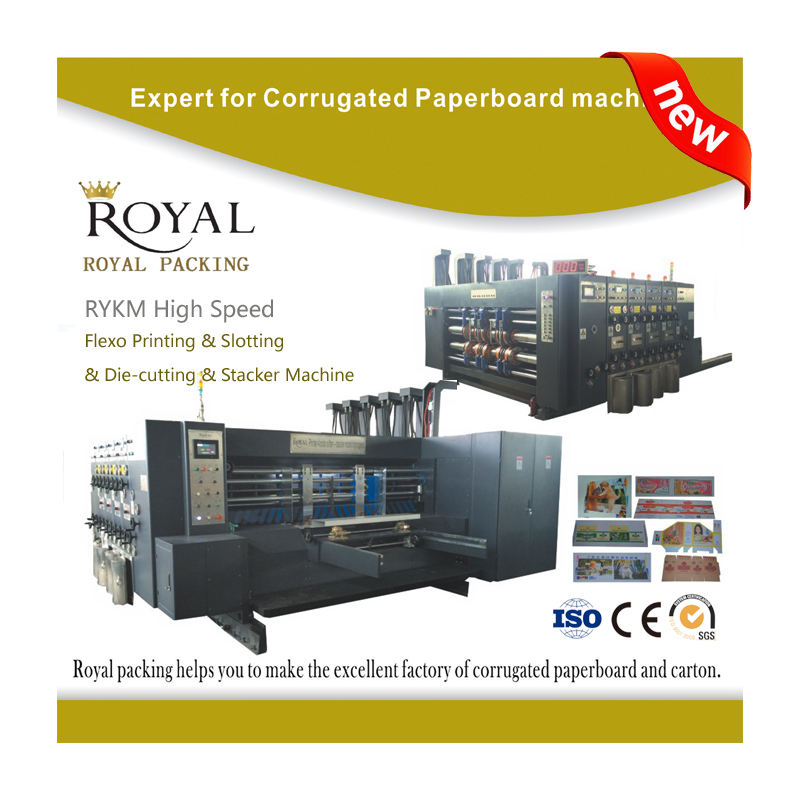 RYKM High Speed Four Colors corrugated cardboard flexo printer and slotter die-cutter stacker machine