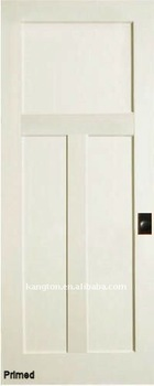 Primed 3 Panel Poplar Wood Doors with Flat Panel