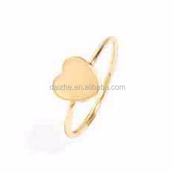 China factory custom wholesale 925 sterling silver 18k gold plain silver heart shaped ring designs