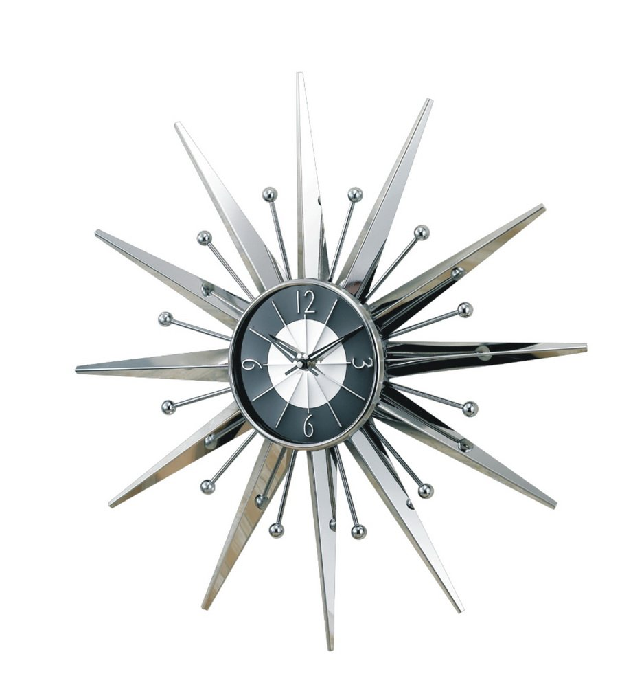silver starburst wall clock retro eames danish modern  buy wall  - silver starburst wall clock retro eames danish modern  buy wall clockproduct on alibabacom