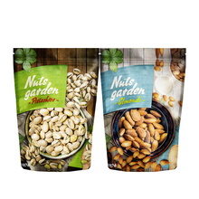 Resealable Ziplock Doypack Aluminum Foil Lined Kraft Paper Standing Up Pouches Packaging Zipper Bag For Nuts