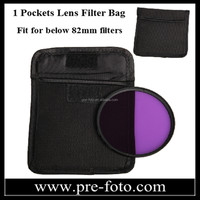 High-quality Protectiv Waterproof Nylon Fabric Camera Lens Pouch Filter Wallet Case 1 Pockets Filter Bags