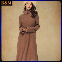 Black Draped Collar Wool Dress Long Sleeve Dress Maxi Dress
