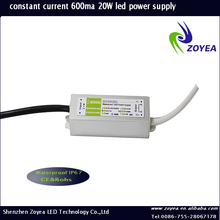 high efficiency waterproof constant current led driver 700ma FSC-20 30~36v 600ma 20w