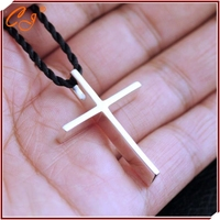 2015 Simple Cross Necklace, S925 Sterling Silver Pendant Necklace, Black Cotton Rope Link Necklace