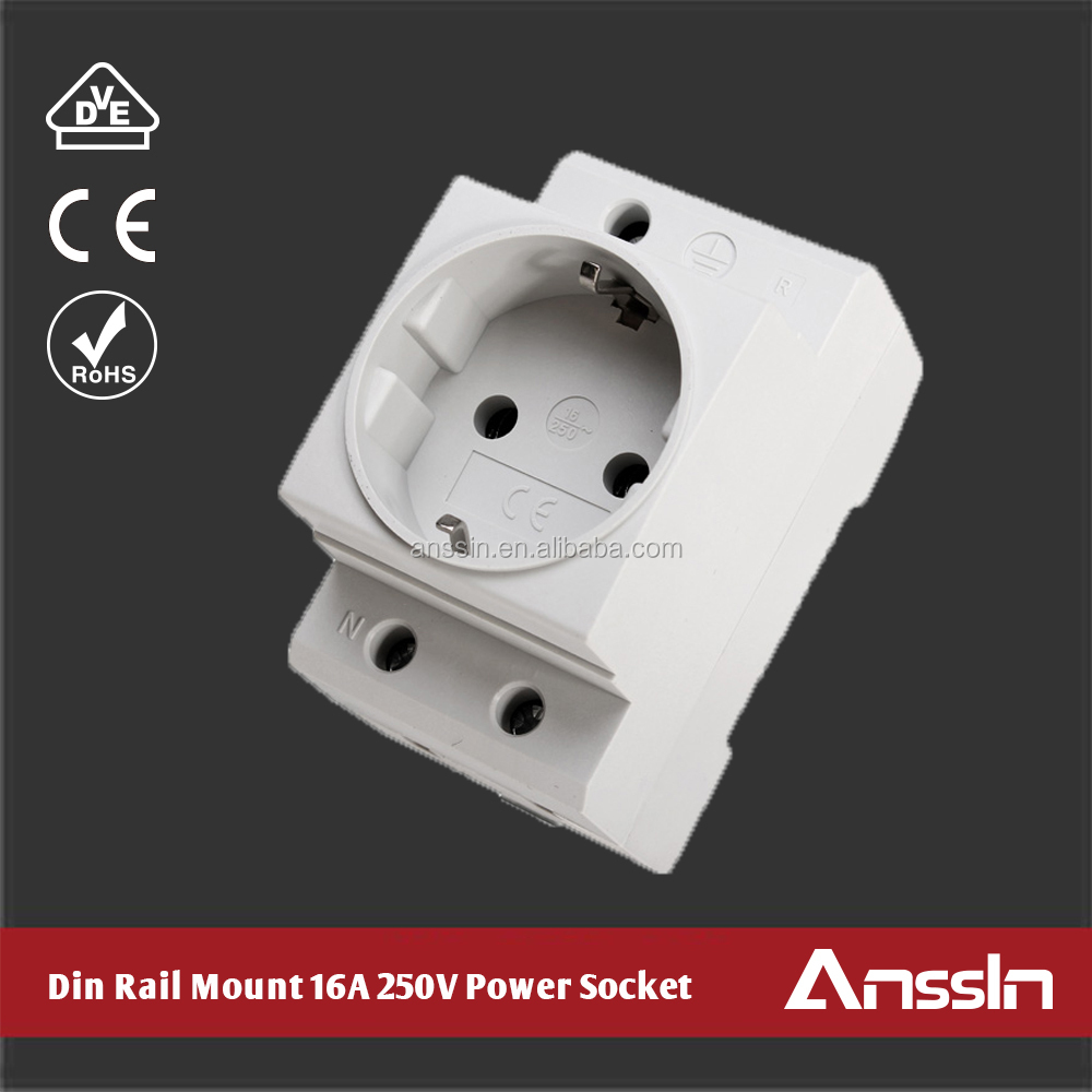 Color Customized German Schuko Din Rail Mounted 16A 250V Power Socket