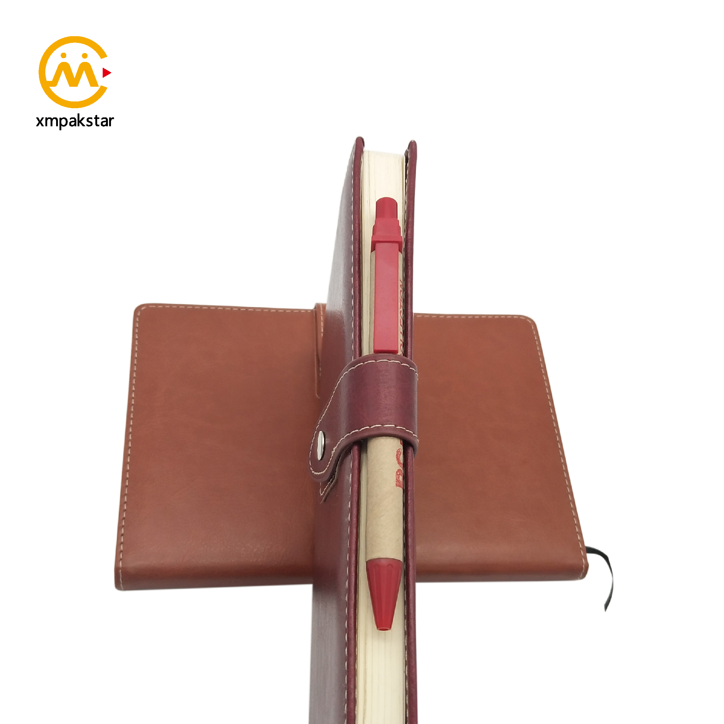 Manufacture A5 custom pu leather business planner notebook with button closure
