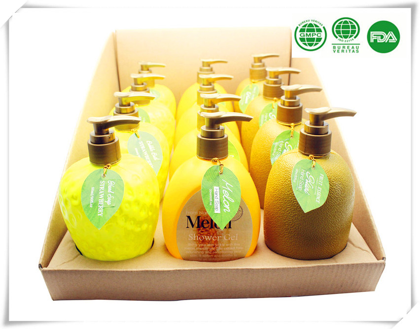 Melon fresh 400ml liquid fruit shaped soap with high quality in fruit infuser bottle