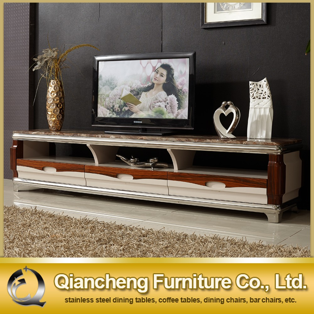 Fashion wooden led tv stand furniture with showcase marble top