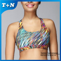 custom made full printing yoga sports seamless tube bra nude
