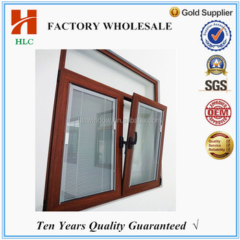 Philippine designs alluminium wood grain tilt and turn window with quality hinges for house