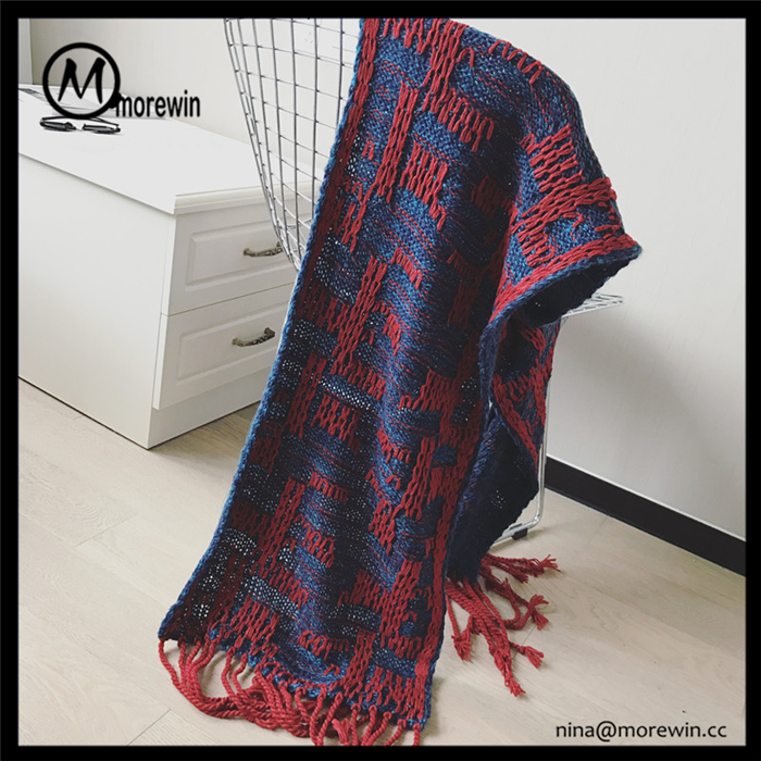 Morewin brand new arrival hot sales cheap simple design womens and men tassel fashion scarf
