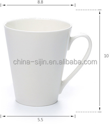 Pure white ceramic mugs quality porcelain tableware for hotel/restaurant/banquet