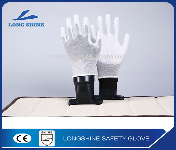High Quality en388 White PU Coated Nylon Liner Cut Resistant Level 3 Hand Protection Safety Gloves