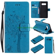 New design Embossed Tree Cat Flower Pattern Stand Flip Leather Case For Samsung Galaxy note8