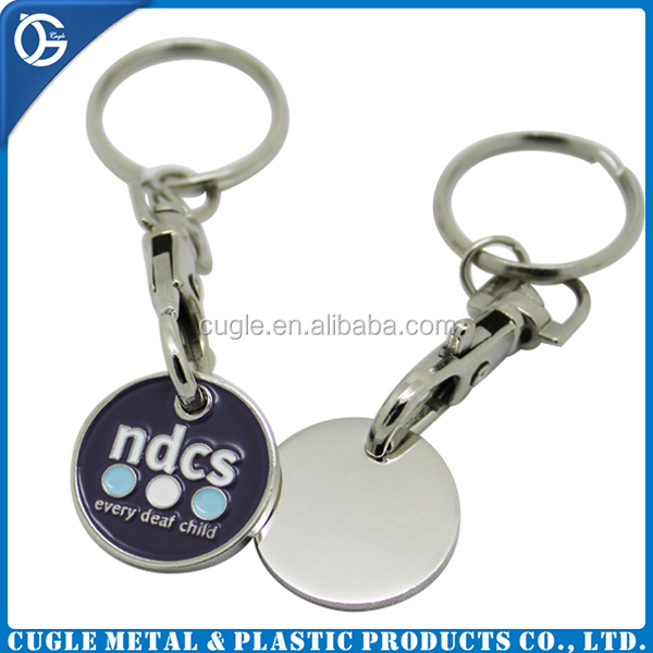 Cheap price die stamped trolley coin keyring with customized logo