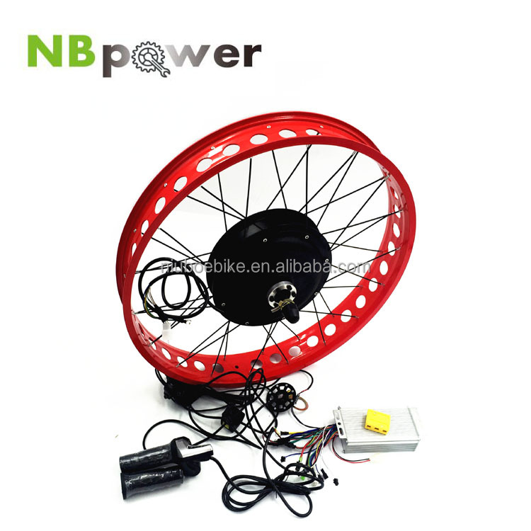 48V 1500W Gearless Hub Motor/Electric Fat Bike DIY Conversion Kits fat ebike rim 26x4.0 and 20X4.0 with battery