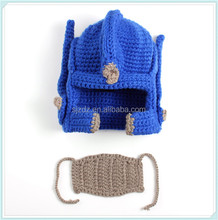 High quality custom man crochet pattern knight helmet hat