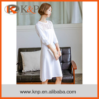 Women knitted casual knee length pullover knitting sweater dress
