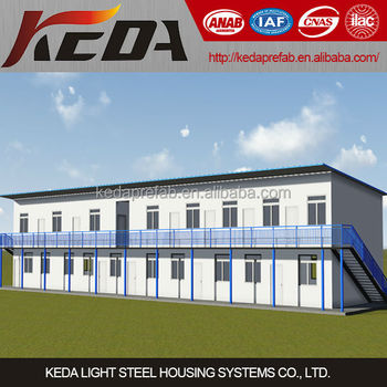 Flat Roof economical prefabricated house Knock Down for Dormitory/Worker Camp/Office and School
