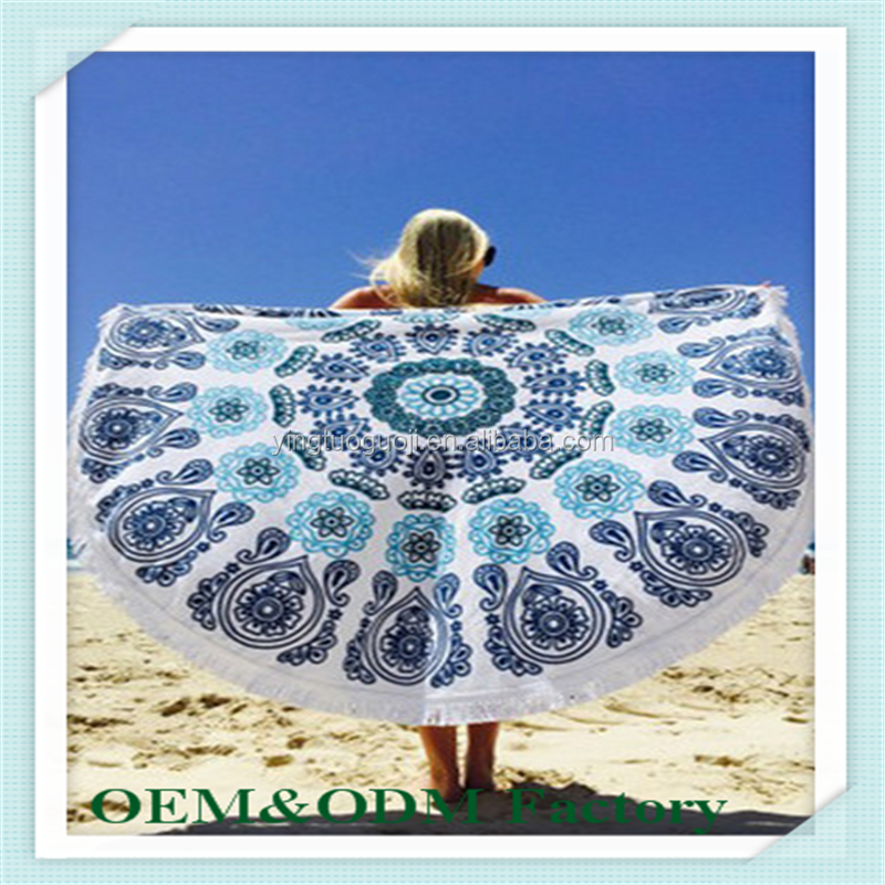 Factory Direct Supplier Wholesale Beach Printed Round Towel