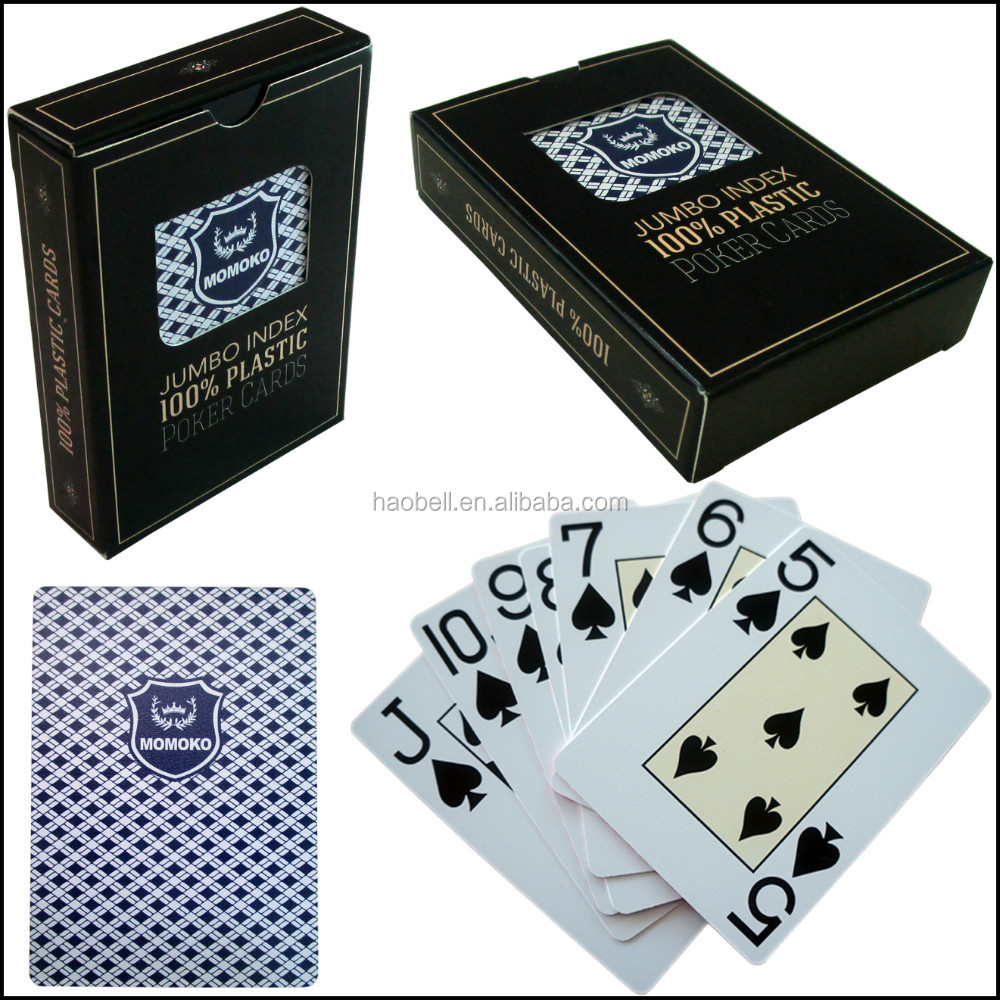 MOMOKO poker club jumbo index 100% plastic poker playing cards with window box packing