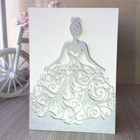 Free ship Personalized carving Beautiful dress girl design birthday party high shinning sparkling wedding invitation cards QJ-68
