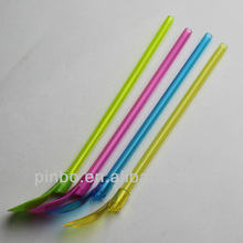 Plastic Colored Drinking Straw with Spoon