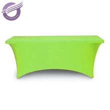 475 Customized green banquet rectangular table lycra spandex table covers